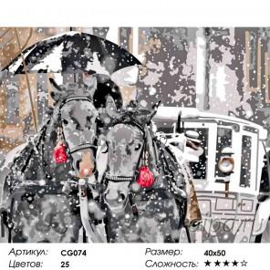 Зимние лошади Раскраска по номерам на холсте Color Kit
