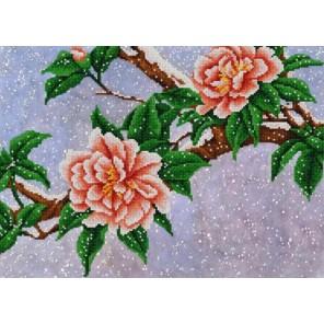Цветы под снегом Канва с рисунком для вышивки бисером Конек