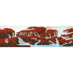 Горный водопад Канва с рисунком для вышивки бисером Конек