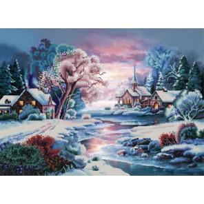 Зимняя речка Канва с рисунком для вышивки бисером Конек