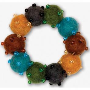 Коричнево-голубой Браслет из войлочных шариков с бисером Dimensions