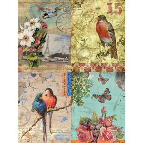 Птицы и цветы DGR 58 Рисовая декупажная карта Calambour