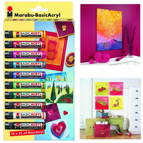 Basic Acryl Набор акриловых красок 10шт. Marabu ( Марабу)