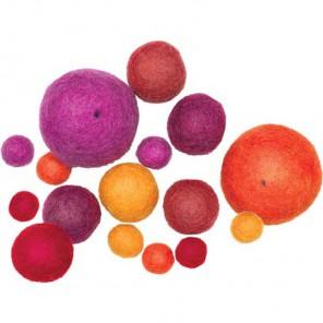 Мягкие шарики Теплые тона Декоративное украшение из войлока Dimensions