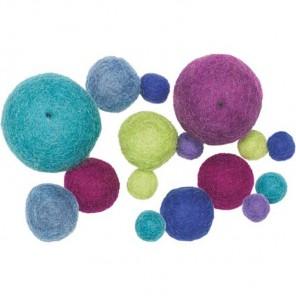 Мягкие шарики Холодные тона Декоративное украшение из войлока Dimensions