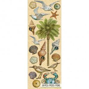 Пальма и чайки Стикеры для скрапбукинга, кардмейкинга K&Company