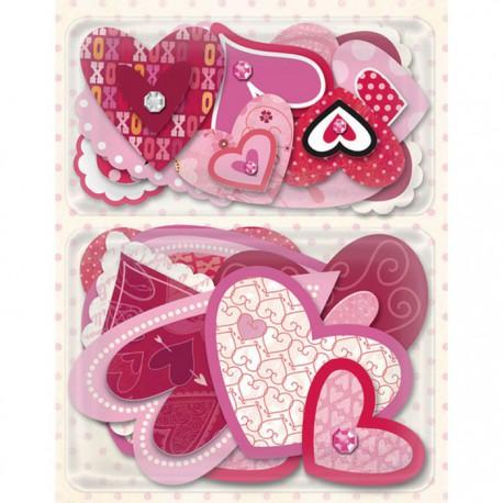 Розовые сердца Стикеры для скрапбукинга, кардмейкинга K&Company
