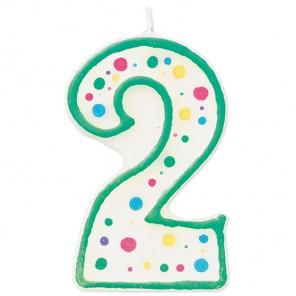 Цифра 2 Свеча зеленая Wilton ( Вилтон )