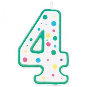 Цифра 4 Свеча зеленая Wilton ( Вилтон )