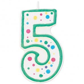 Цифра 5 Свеча зеленая Wilton ( Вилтон )