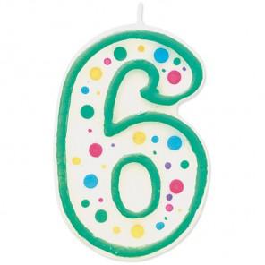 Цифра 6 Свеча зеленая Wilton ( Вилтон )