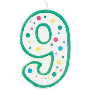 Цифра 9 Свеча зеленая Wilton ( Вилтон )