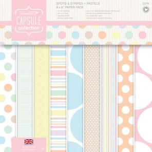 Spots & Stripes Pastels Набор бумаги 20x20 для скрапбукинга, кардмейкинга Docrafts