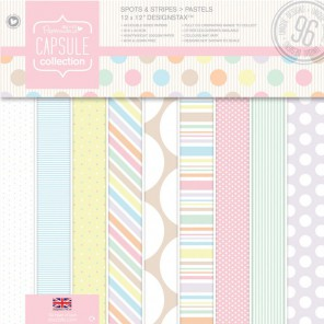 Spots & Stripes Pastels Набор бумаги 30x30 для скрапбукинга, кардмейкинга Docrafts