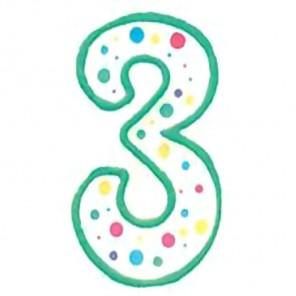 Цифра 3 Свеча зеленая Wilton ( Вилтон )