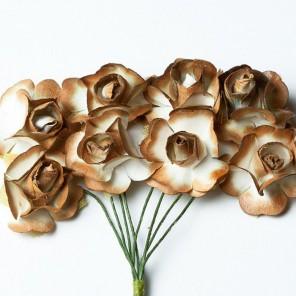Розы коричневые HY0010018522-1 Цветы бумажные Украшение для скрапбукинга, кардмейкинга Scrapberry's