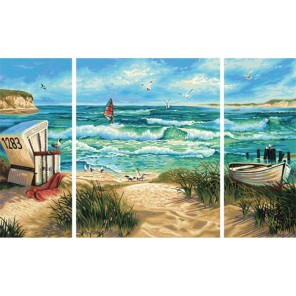 Летний отпуск Триптих Раскраска по номерам акриловыми красками Schipper (Германия)