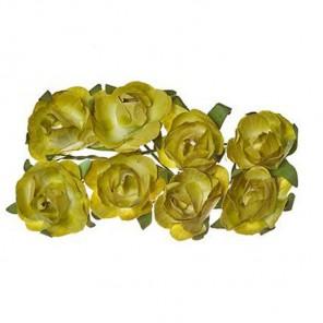 Розы зеленые 8шт Цветы бумажные Украшение для скрапбукинга, кардмейкинга Scrapberry's