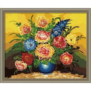 Букет в синей вазе Раскраска по номерам акриловыми красками на холсте Hobbart