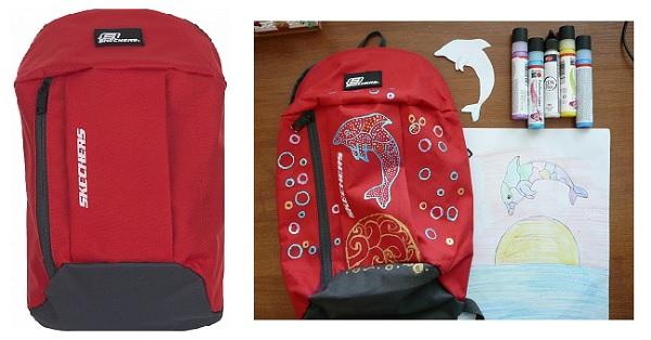 Рюкзак декорирован краской по ткани Fashion Liner Marabu ( Марабу ) детский проект