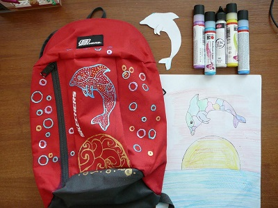 Рюкзак декорирован контурной краской по ткани Fashion Liner Marabu ( Марабу )