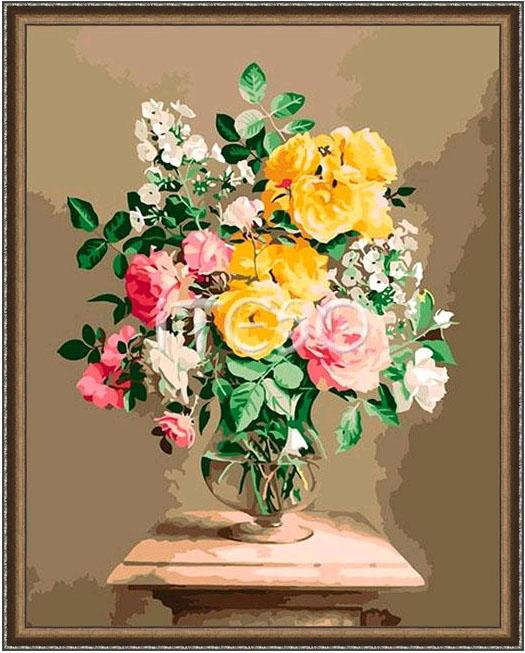 Картина на холсте по номерам Iteso A387i Букет из роз Вдохновение в рамке 40х50см Цветное золото с декоративной полоской.